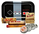 Bundle - 12 Items - Raw King Size Cigarette Rolling Papers (4 Packs), RAW Pre-Rolled Tips (4 Packs), RAW 110mm Roller with Rolling Paper Depot Rolling Tray (Controller), Grinder and XL Doob Tube