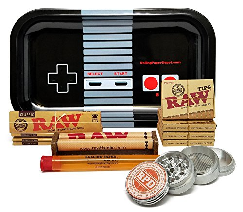 Bundle - 12 Items - Raw King Size Cigarette Rolling Papers (4 Packs), RAW Pre-Rolled Tips (4 Packs), RAW 110mm Roller with Rolling Paper Depot Rolling Tray (Controller), Grinder and XL Doob Tube by RAW, Rolling Paper Depot