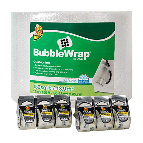 Duck Brand 150-Foot Bubble Wrap with MAX Strength Packing Tape 6-Pack Bundle (286429)