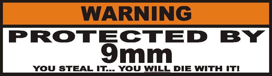 Warnung Aufkleber Protected by 9mm 3stk. SouthWestCustoms