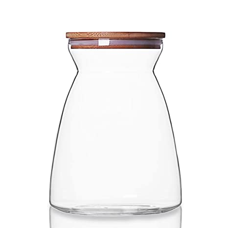 702462249248 JIAQI Glass Storage Jar with Natural Bamboo Wood Lid & Silicone Seal Ring,  Kitchen Glass Food Storage Containers Airtight Canister for Pasta, Tea, ...