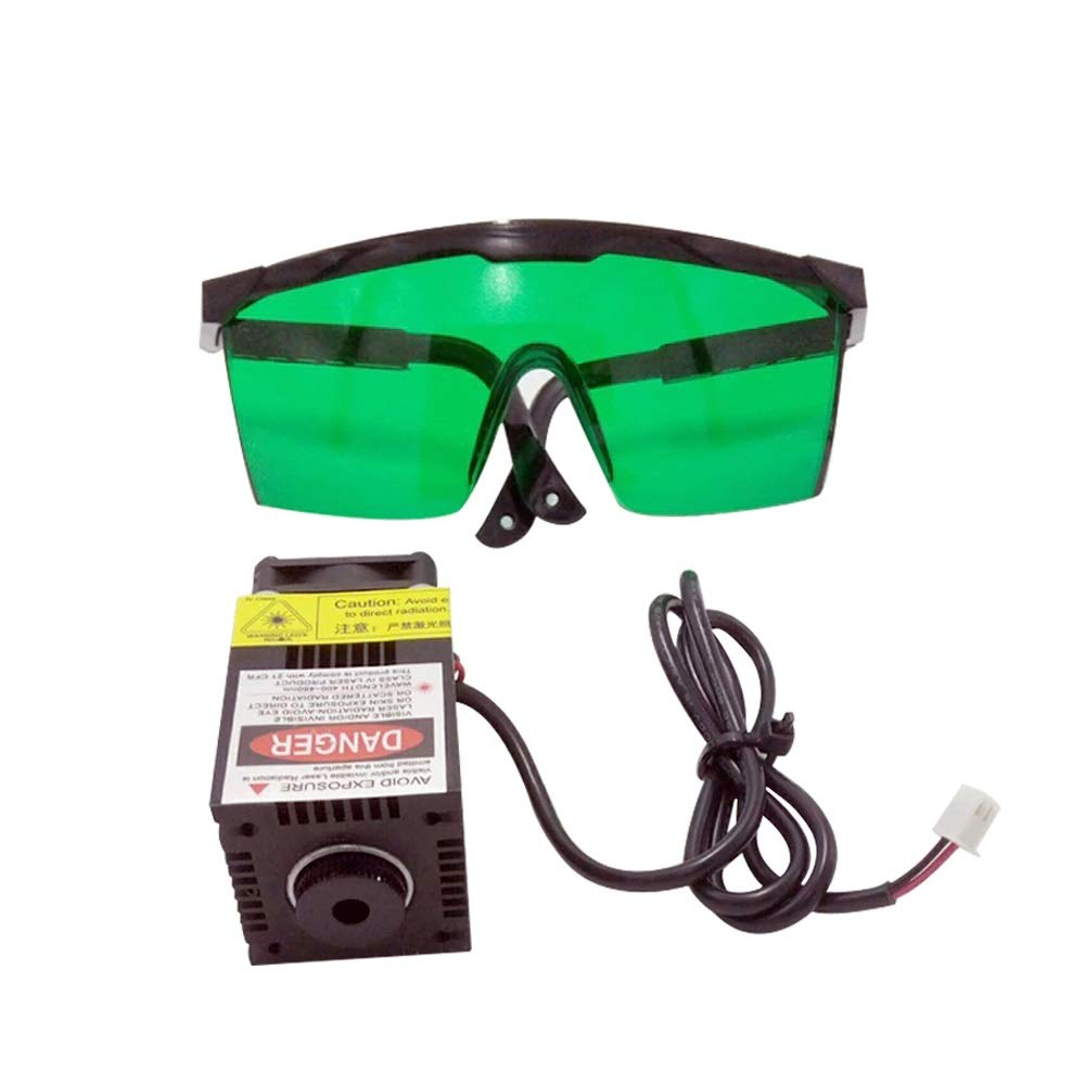 Blue Laser Module and Safety Glasses- 500mW, 405nm, 12VDC, Focusable, Hx2.54 Connector - for Cutting and Engraving with CNC or 3D Printer