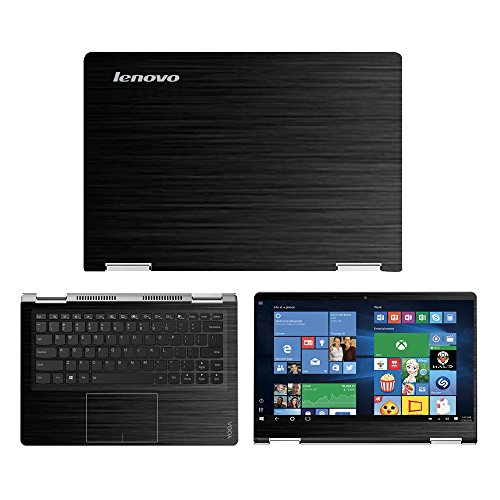 Black Brushed Aluminum skin decal wrap skin Case for Lenovo Yoga 710 14 14 Touch Screen Laptop