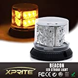 Xprite 18 LED 12 Flash Patterns 27W Amber Yellow Revolving Strobing Flashing Emergency Light with Magnetic Mount