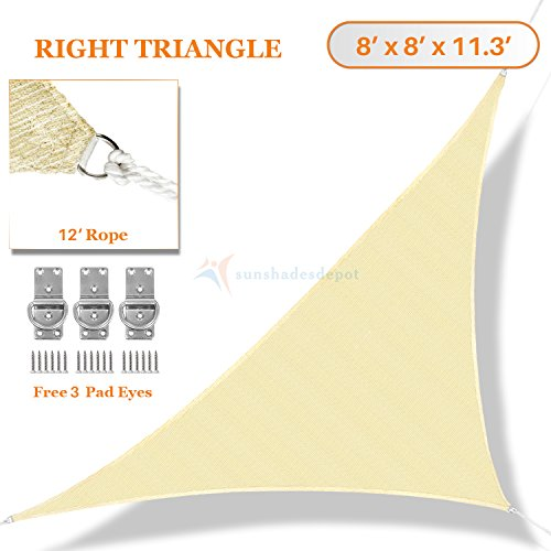 Sunshades Depot 8' x 8' x 11.3' Sun Shade Sail Right Triangle Permeable Canopy Tan Beige Custom Size Available Commercial Standard - Right Outdoor Art