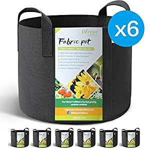 WINNER OUTFITTERS 6-Pack 5 Gallon Grow Bags/Aeration Fabric Pots With Handles