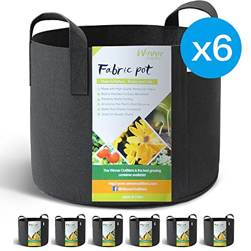 WINNER OUTFITTERS 6-Pack 5 Gallon Grow Bags/Aeration Fabric Pots With (Smart Pot)