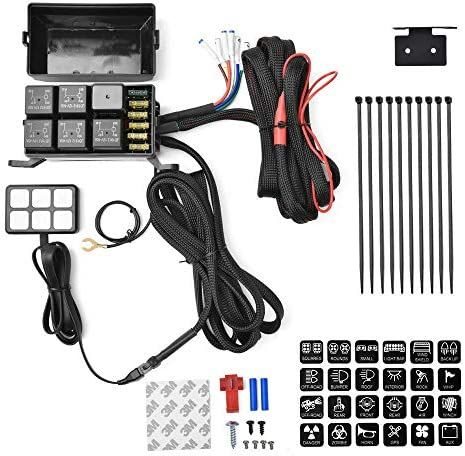 6 Gang Switch Panel Electronic Relay System Circuit Control Box Waterproof Fuse Relay Box Wiring Harness Assemblies For Car Auto Jeep Truck Boat Marine Universal Button Pod Touch Switch