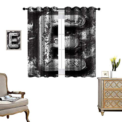 Anyangeight Letter E Window Curtain Fabric Aluminum Colored Decayed Uppercase E Alphabet Character Nostalgic Medieval Initials Drapes for Living Room W55 x L39 Grey