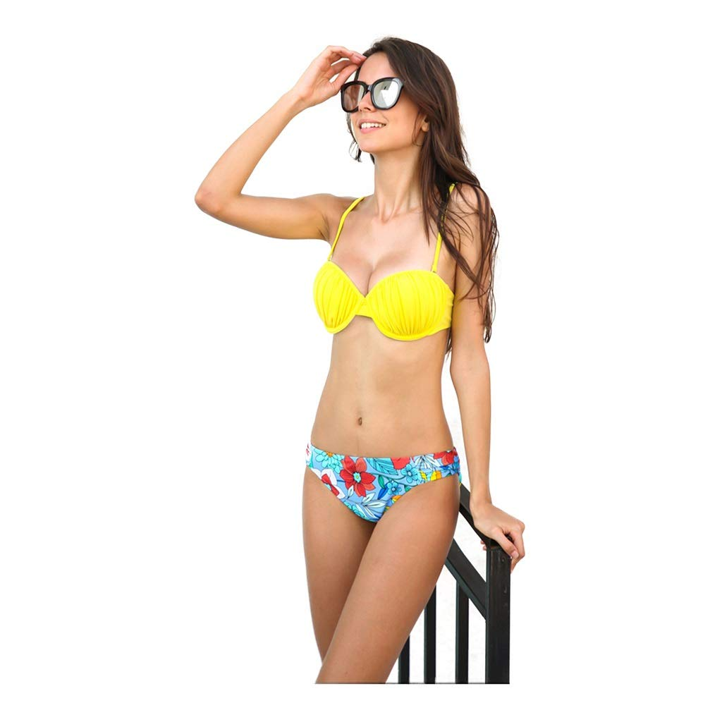 Women Triangle Printing Yellow Padded Bikini Swimwear Halter Swimsuit (Size   XS)