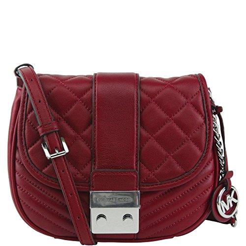 Michael Kors Elisa Medium Messenger Bag (Cherry) (Kors Bag Michael Cross)