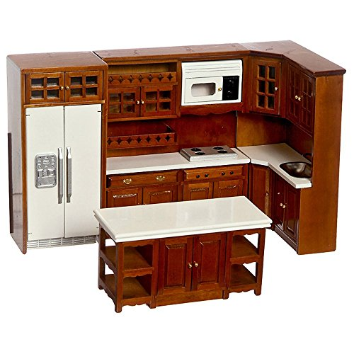 Dollhouse Miniature Kitchen Set, Appliances and Cabinets, Walnut Finish by Town Square Miniatures