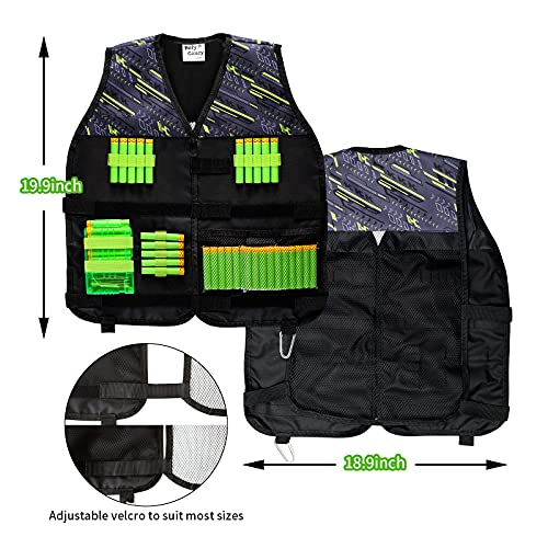 Hely Cancy Kids Toy Tactical Vest 2 Packs Compatible with Nerf with Refill Darts,Dart Pouch, Reload Clips, Tactical Scarf, Wrist Band and Protective Glasses for Boys, Blue & Green