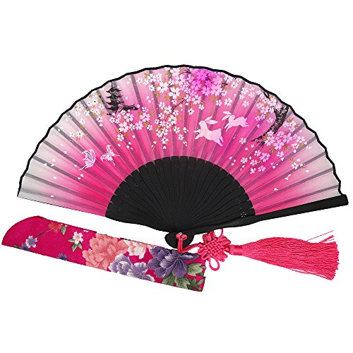 Wise Bird Charming Elegant Modern Woman Handmade Bamboo Silk 8'' Folding Pocket Purse Hand Fan, Collapsible Transparent Holding Painted Fan with Silk Pouches/ Wrapping. Beautiful Fashion Accessory for Wedding, Bride Maids, Party, Cosplay, Business Gifts, T by Wise Bird M