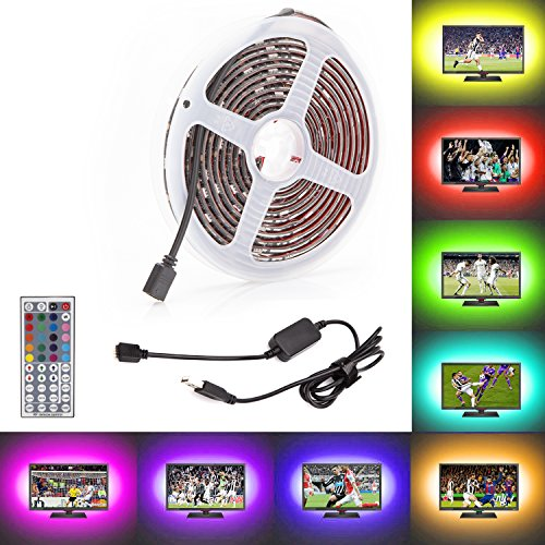 TV USB Bias Light [ 44 Key Remote Control ] 5V 300CM [ 20 Colors ] TV Backlight Strip, 10Ft Strip Lighting With Adhesive for HDTV, Flat Screen LCD PC Kitchen Bedroom Automotive ()
