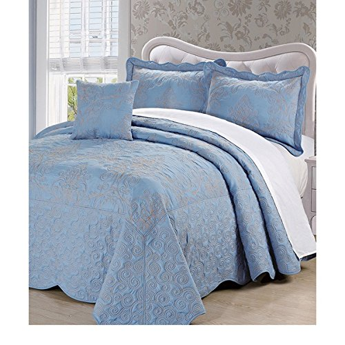 4 Piece 110 X 120 Sky Royal Blue Oversized Damask Bedspread Queen To The Floor, Hangs Over Edge Floral Bedding Drops Side Bed Frame Drapes Large Extra Wide Long French Country Pattern, Polyester by D&H