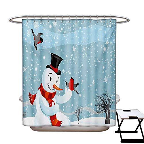 - Snowman Shower Curtains Fabric Snowfall Festive New Years Eve Celebration Theme Xmas Figure with Bullfinch Birds Bathroom Decor Set with Hooks W48 x L84 Multicolor
