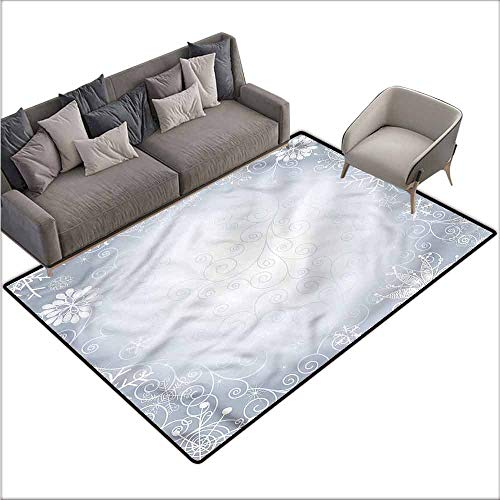 """Vintage Entrance Mat Ombre,Christmas Frame Swirls 48""""x 60"""",Contemporary Indoor Area Rugs"""