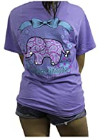 Southern Attitude Collection Violet Elephant Preppy Short Sleeve Tee Shirt (Large)