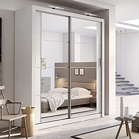 Arthauss Modern Bedroom Mirror Sliding Door Wardrobe ARTI 3 In Matt White  181cm Sold: Amazon.co.uk: Kitchen U0026 Home