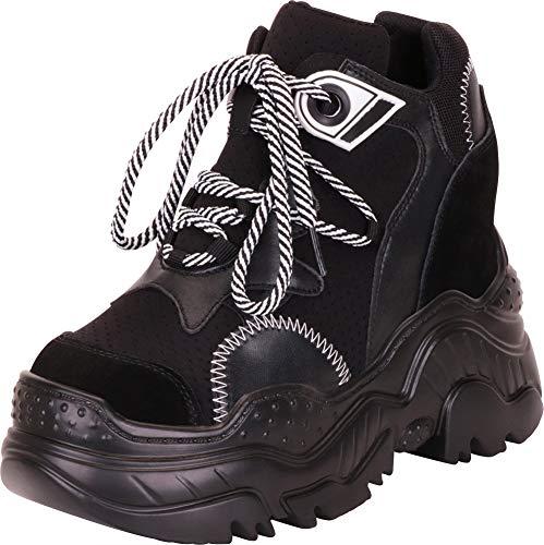Cambridge Select Women's 90s Rave Hidden Wedge Extra High Chunky Platform Fashion Sneaker,9 B(M) - Platform Shoe Trendy Goth Black