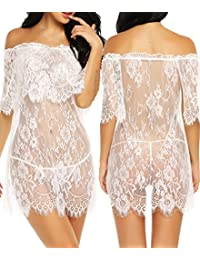 Women Sexy Lace Chemise Smock Off Shoulder Lingerie Sheer Floral Babydoll Nightwear