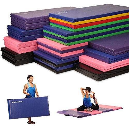We Sell Mats Folding Exercise Gym Mats, 4 x 10', Purple/Pink
