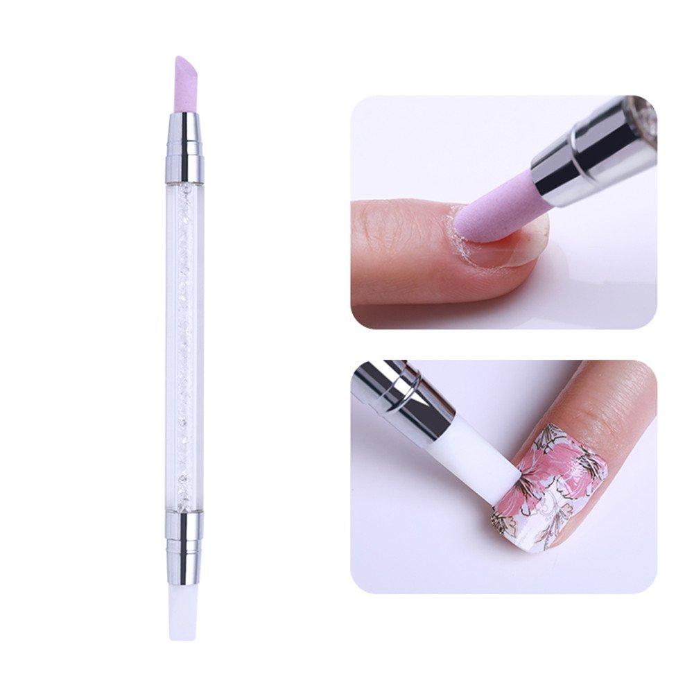 BORN PRETTY 1 Pc Nail Art Quartz Cuticle Remover Dual-ended Pen Silicon Press Scrape Tool Rhinestone Handle Nail Art Tool