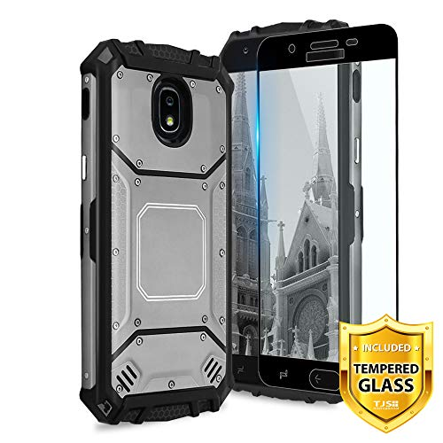 TJS Galaxy J7 2018/J7 Refine/J7 Star/J7 Eon/J7 TOP/J7 Aero/J7 Crown/J7 Aura/J7 V 2nd Gen Case, with [Full Coverage Tempered Glass Screen Protector] Aluminum Military Metal Magnetic Support Case (Grey)