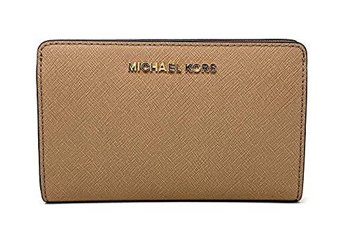 Michael Kors Jet Set Travel Saffiano Leather Slim Bifold Wallet (Dark Khaki)