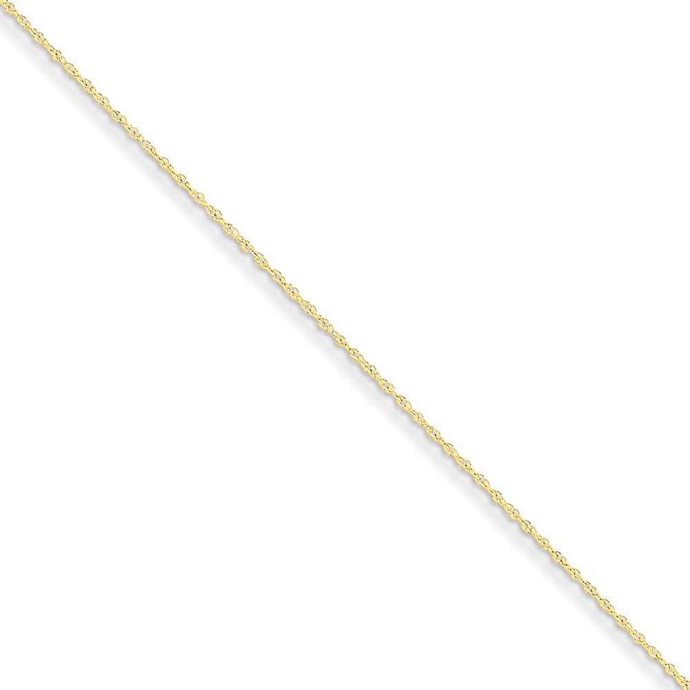 9 Mireval 14K Yellow Gold .8mm Rope Chain Anklet
