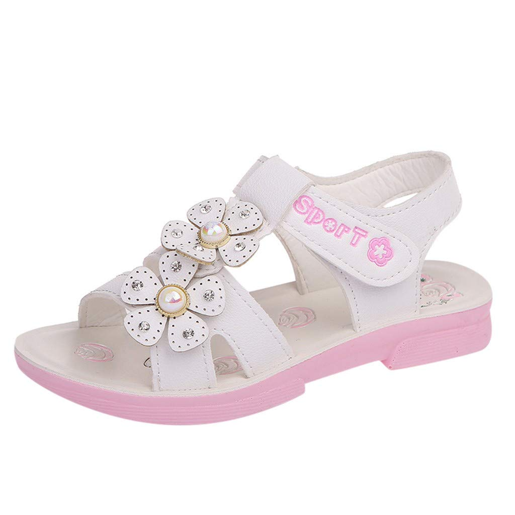 2019 Verano Beb/é Ni/ñas Chicas Sandalias Con Flor De Princesa Fiesta Zapatillas Con Punta Abierta De Playa Vacaciones Zapato Antideslizante Calzado
