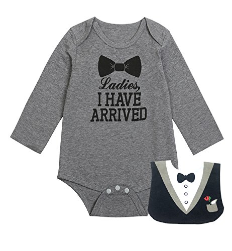 iCrazy Baby Boys' Funny Gentleman Bodysuit with Bib (0-3 Months, Gray01)