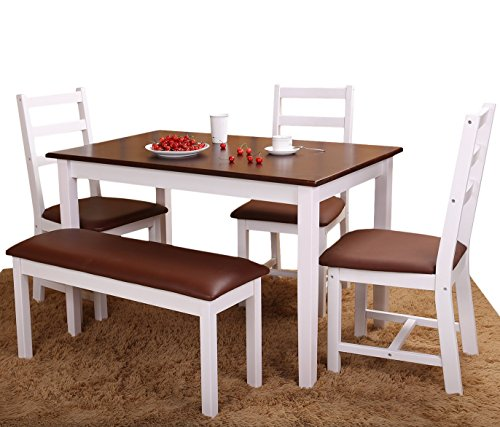 Merax 5 PC Dining Dinette With Bench 5 Person Dining Table