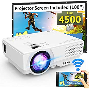 """WiFi Mini Projector, Jinhoo 2020 Latest Update 4500 Lux [100"""" Projector Screen Included] Supported 1080P Home Theater with 176'' Projection Size Support TV Stick, HDMI, USB, SD, VGA"""