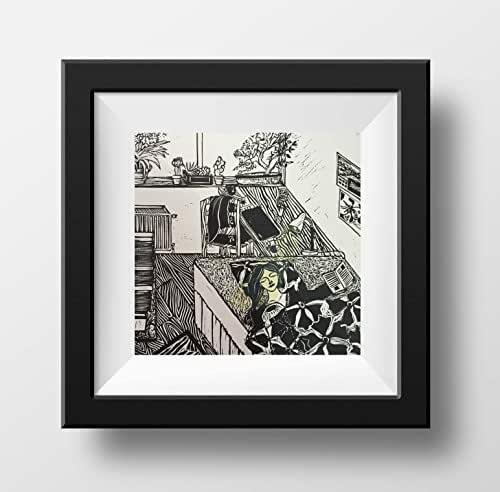 Amazon.com: Linocut Print, Black And White Art, Original