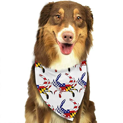 USA Maryland Flag Crab Adjustable Dog Bandana Washable Dog Scarf Pet Triangle Bandanas Fashion Bib for Small to Large Dogs -