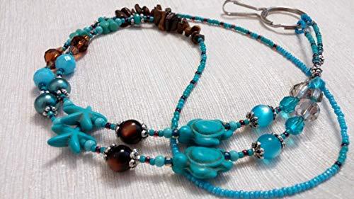 Aqua Magnesite Turtle and Starfish Lanyard Necklace