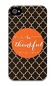 iPhone 4 Case, Customized Protective Thankful Hard 3D Case Cover for iPhone 4 4s