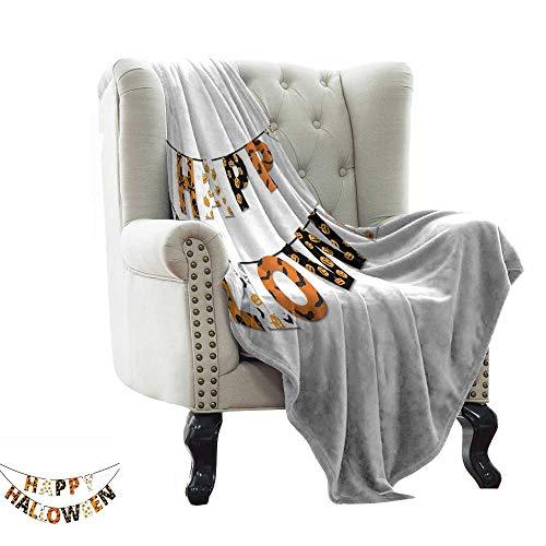 Littletonhome Reversible Blanket Happy Halloween Banner Greetings Pumpkins Skull Cross Bones Bats Pennant Bedroom Warm 70