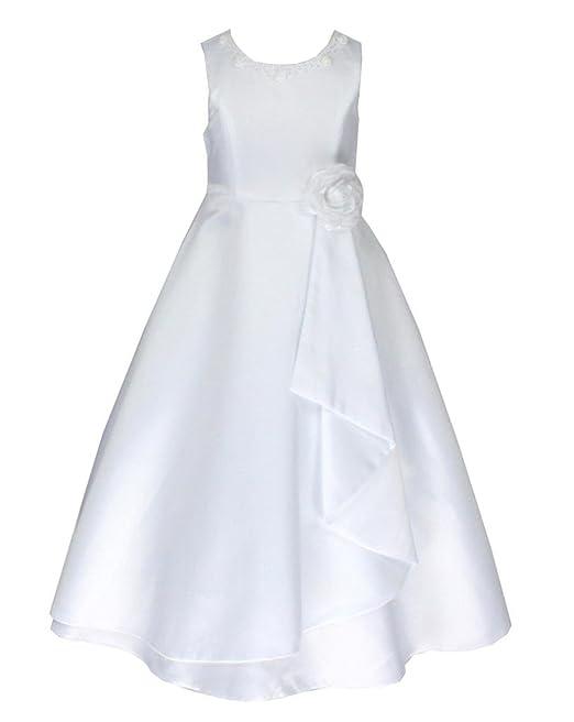 2014964dfe61 go2victoria Raso Vestito Formale da Ragazza Vestito da Bambini Vestito da  Damigella Bianco 12 Anni (W6680-12 )  Amazon.it  Abbigliamento