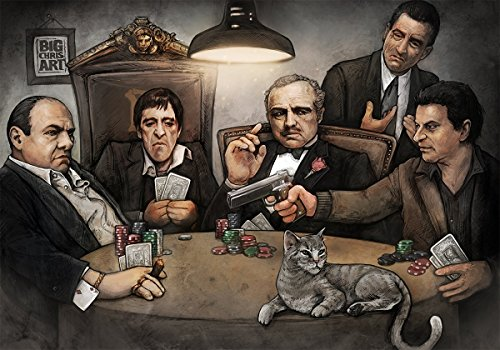 Get Down Art Laminated Gangsters Playing Poker Poster By Big Chris, 24 x 36 Inches by Get Down Art