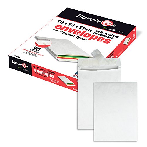 Expansion Open Mailer Side (Quality Park Survivor R4202 Tyvek Expansion Mailer, 10 x 13 x 1 1/2, White (Box of 25))