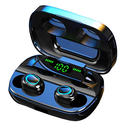 Luisport True Wireless Earbuds Bluetooth EarbudsTWS Wireless Headphones Bluetooth Headphones with LED Battery Display Wireless Earphones with Charging Case Stereo Sound (S11-Black)