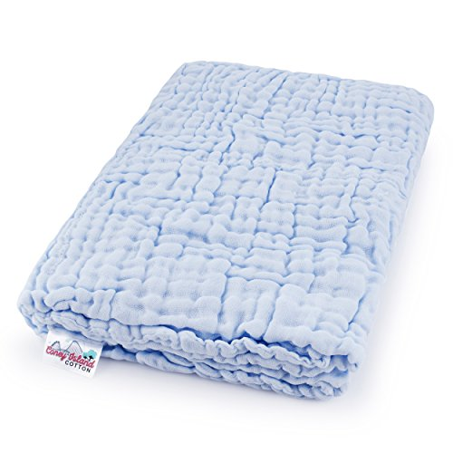 Coney Island Cotton Light Blue Muslin 6 Layer Multi Use Blanket Or Baby Towel Natural Antibacterial Large 45