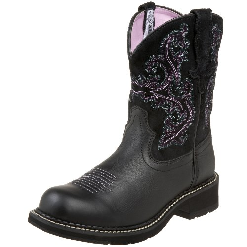 Ariat Women's Fatbaby II Western Cowboy Boot, Black Deertan/Orchid, 10 M US (Pink Riding Boots For Women)