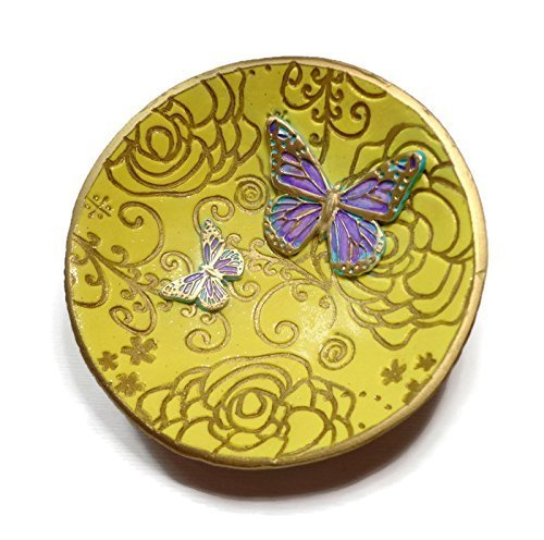 Amazon.com: Yellow Butterfly Ring Dish, Ready to Ship, Jewelry ...