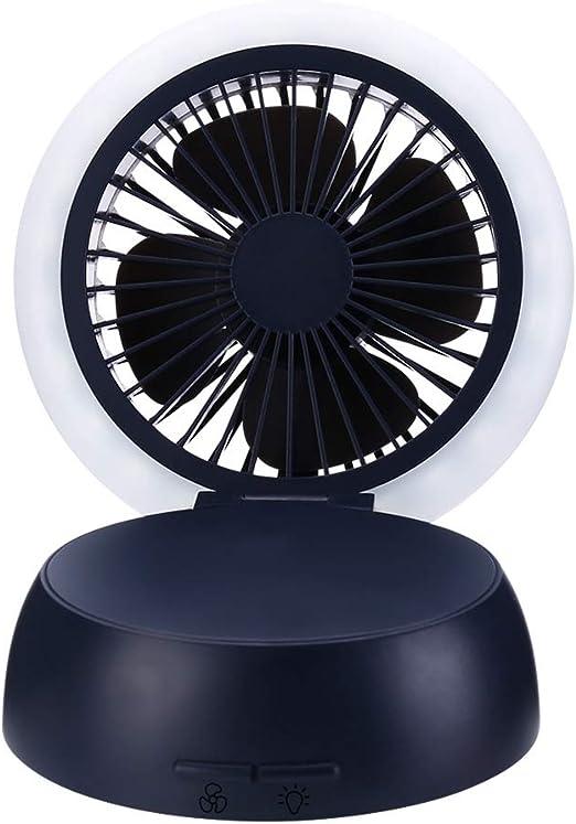 Mini ventilador de escritorio Ventilador USB con luz LED de noche ...