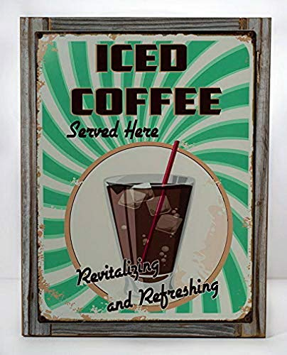 Fuxell Metal Sign Iced Coffee Served Here Metal Signs Vintage Retro Diner Decor Cafe Kitchen Dcor Metal Tin Sign Plate Wall Plaque Wall Art - Dcor Plate Wall