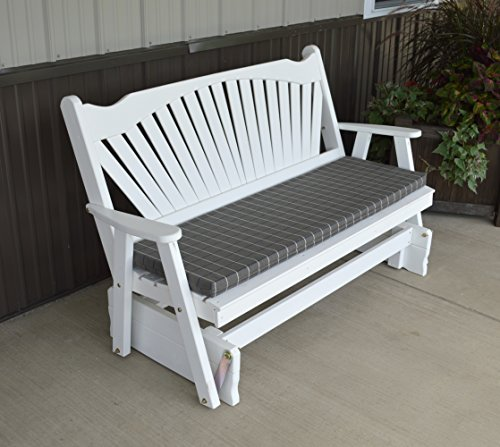 ASPEN TREE INTERIORS Porch Glider Bench with Fanback Designer Detail - Amish Made in The USA - Comfortable Outdoor Patio Furniture for Porches and Entryways (White)